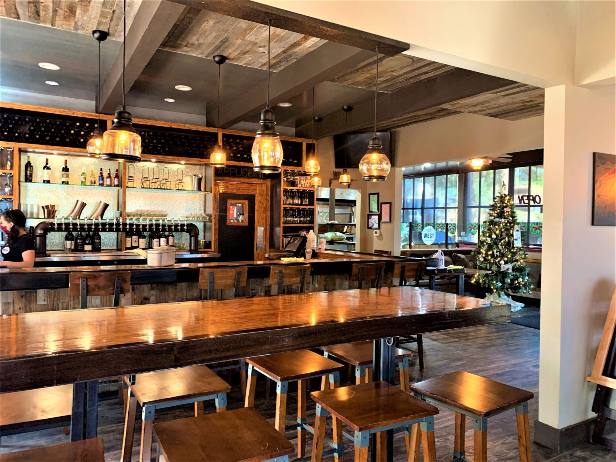 Wood bar at 127 West Social House